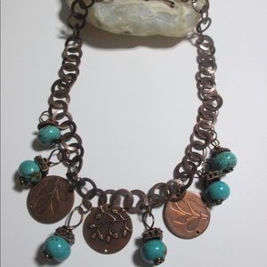 Copper Color Necklace Turquoise Look Alike Beads